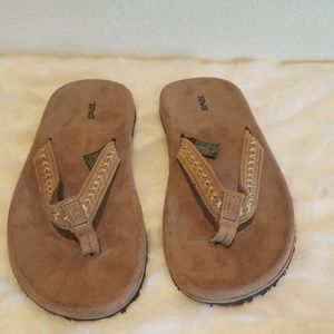 Teva Tan Stitched Sueded Sandals Size 7